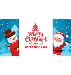 invite or greeting card with santa and snowman vector image