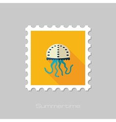 Jellyfish flat stamp Summer Vacation vector image