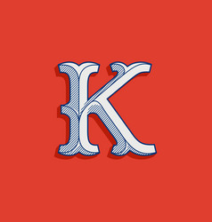 K letter logo in classic sport team style vector