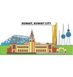 Kuwait kuwait city city skyline architecture vector