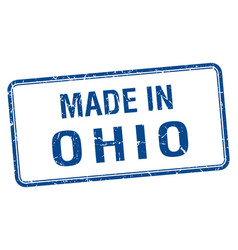 Made in ohio blue square isolated stamp vector