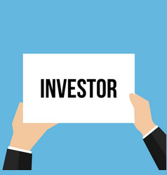 Man showing paper investor text vector