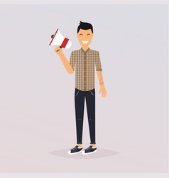 man speaking through megaphone social media vector image