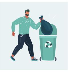 Man throwing trash into a basket vector