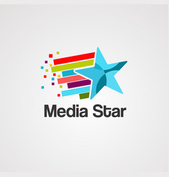 media star logo icon element and template vector image