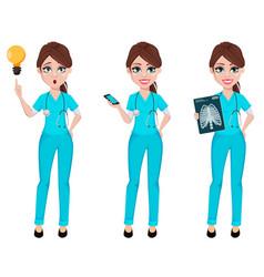 medical doctor woman medicine healthcare concept vector image