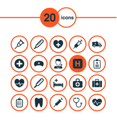 Medicine icons set with cap ache injection and vector