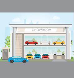 modern car dealership showroom interior and vector image