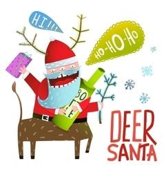 Monster Santa Deer Christmas or New Year vector image