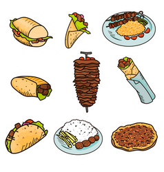 most popular street kebab food wrapped in pita vector image