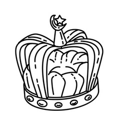 muslim royal crown jewels icon doodle hand drawn vector image