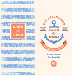 Nautical Wedding Invitation 1 xs vector image