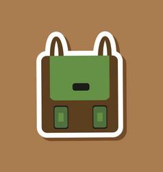 Paper sticker on stylish background school bag vector