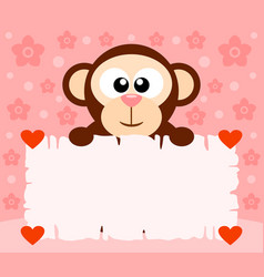 pink valentines day background card with monkey vector image