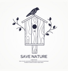 Poster with a picture of the birdhouse vector