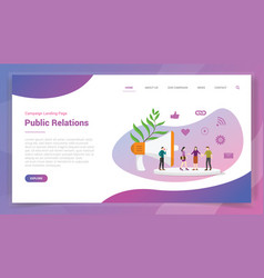 Public relations or pr for website template or vector