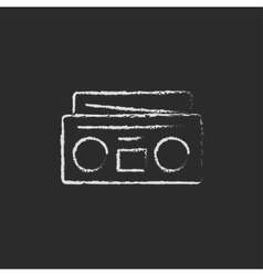 Radio cassette player icon drawn in chalk vector