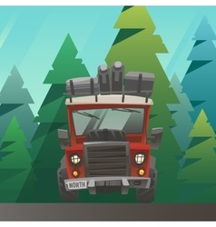 Red loaded truck ride through the summer forest vector image