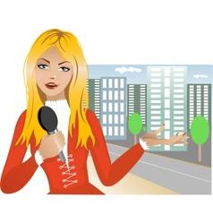 Reporter girl vector image
