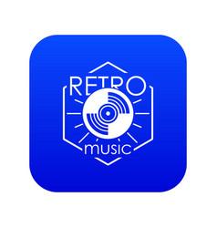Retro music icon blue vector