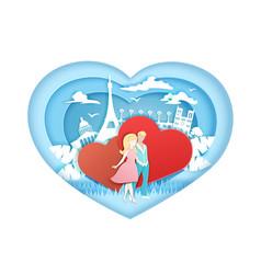 romantic love in paper art vector image