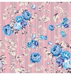 Rose Seamless Pattern Pink Blue vector