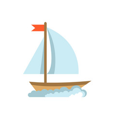 sailing yacht flat icon boat isolated on white vector image