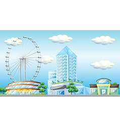 Scene with ferris wheel in the city vector