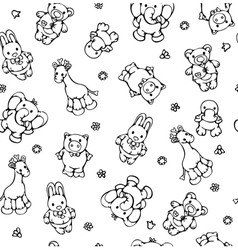 seamless pattern of cute animals vector image vector image