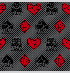Seamless pattern of playing card signs vector