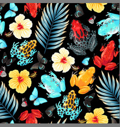 Seamless pattern with flowers and frogs vector