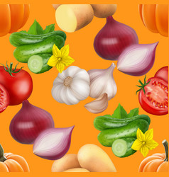 Seamless pattern with vegetables vector