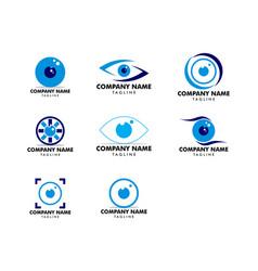 set eye ball icon logo template vector image