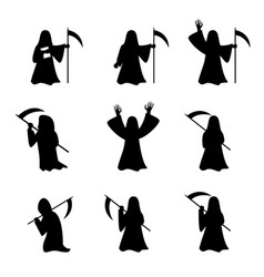 Set grim reaper in silhouette style vector