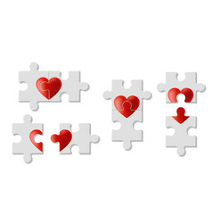 set of heart puzzles represent love vector image
