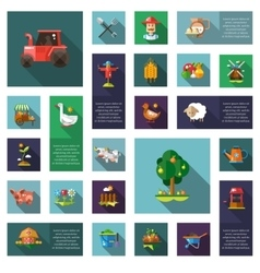 Set of modern flat design farm agriculture icons vector image