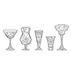 set of polygonal wineglass vector image