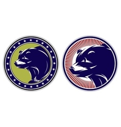 Set of sport badges with bears vector