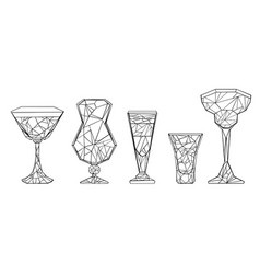 Set polygonal wineglass vector