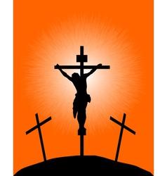 Silhouette a crucifix vector
