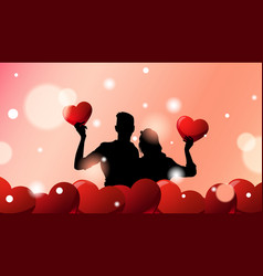 silhouette couple over valentines day greeting vector image