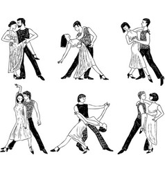 sketches of the dancing couples vector image