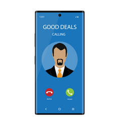 smartphone with incoming phone call screen user vector image