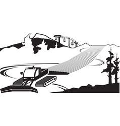 Snow plow clears slots on ski slope vector
