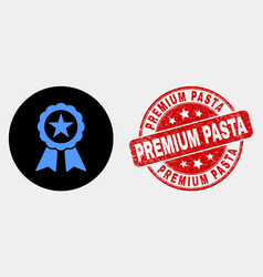 star seal icon and grunge premium pasta vector image