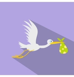 Stork baby flat icon vector image