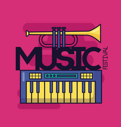 synthesizer and trumpet music festival background vector image