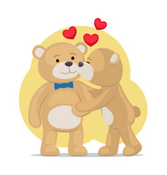 teddy bears couple female kisses male in cheek vector image