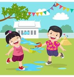 Thai kids splashing water in Songkran festival at vector image