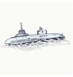 The nuclear submarine surfaced from the depths of vector